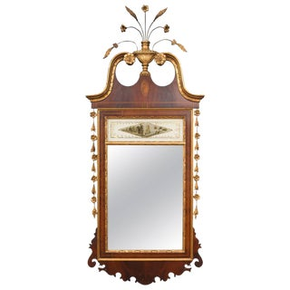 Federal Style Mahogany Parcel Gilt Mirror For Sale