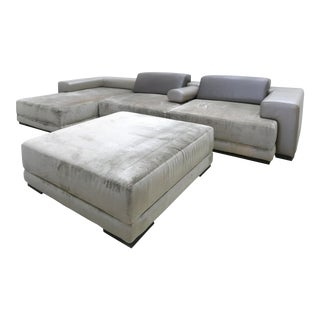 Fendi Casa Modular Interchangeable Sectional in Leather & Microfiber For Sale