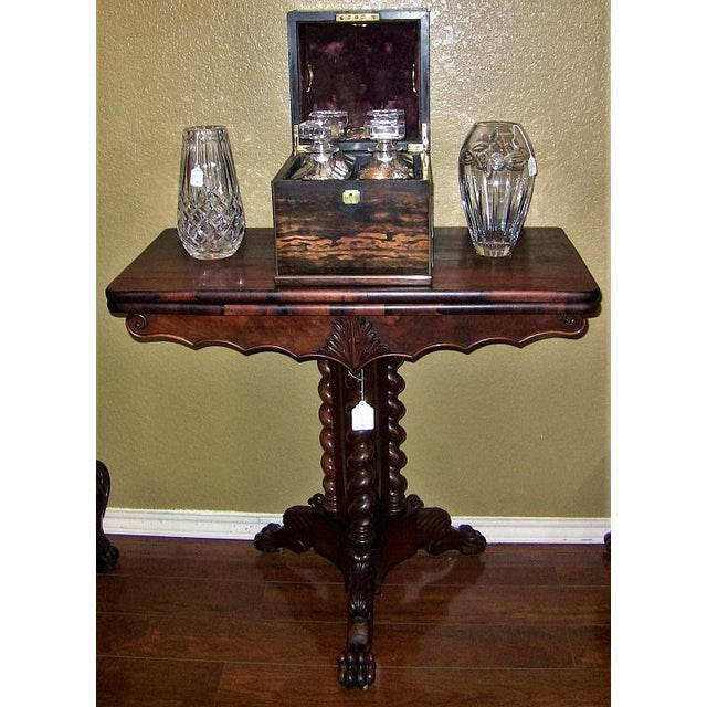 19c British Fold Over Card Table With Tripod Barley Twist Columns For Sale In Dallas - Image 6 of 12