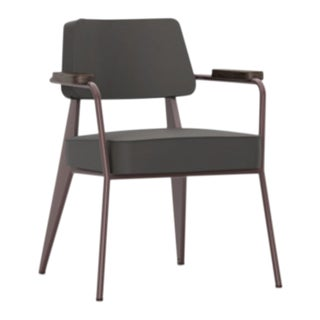Jean Prouvé for Vitra Fauteuil Direction in Dark Gray and Chocolate For Sale