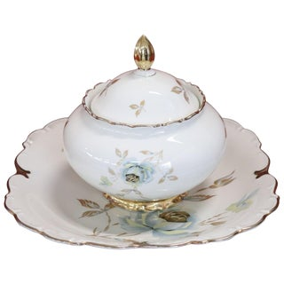 Hand Painted and Gold Porcelain Centerpiece by J Seltmann 2 Pieces, 1930s For Sale