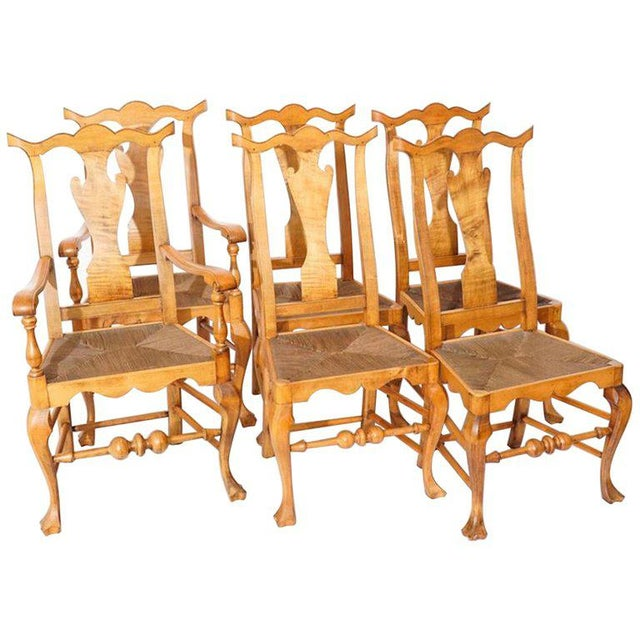 Six Chippendale Style Tiger Maple Dining Chairs For Sale - Image 9 of 9