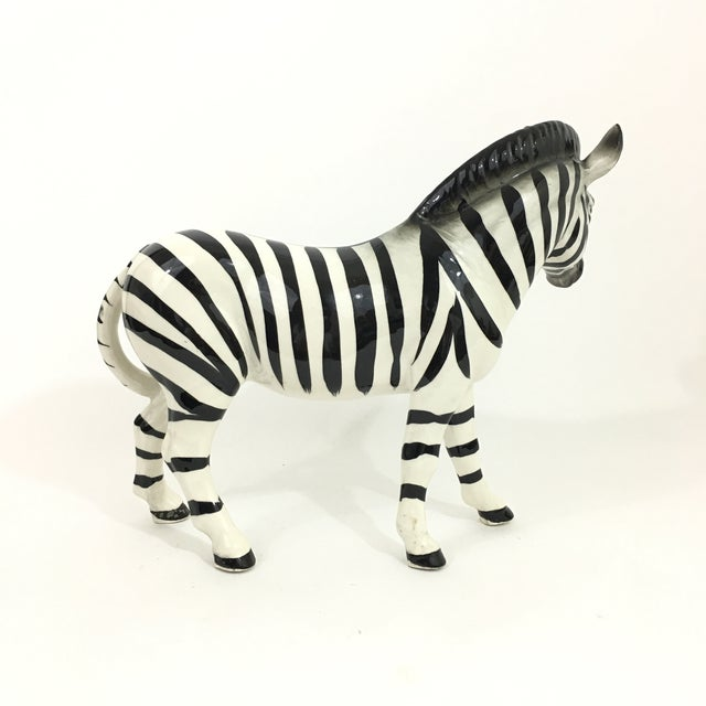 1960s Ceramic Zebra Figure Statue For Sale - Image 5 of 9