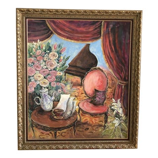 Large Original Interior Scene Framed Oil Painting on Canvas by Ian Leventhal For Sale