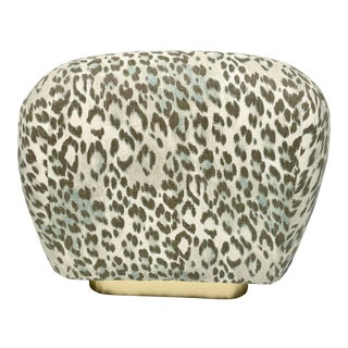 Karl Springer Style Modern Ottoman in Leopard Print and Brass For Sale