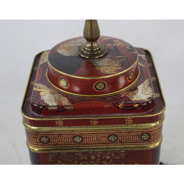 1960s 1960s Frederick Cooper Chinoiserie Tea Canister Converted Table Lamp For Sale - Image 5 of 9