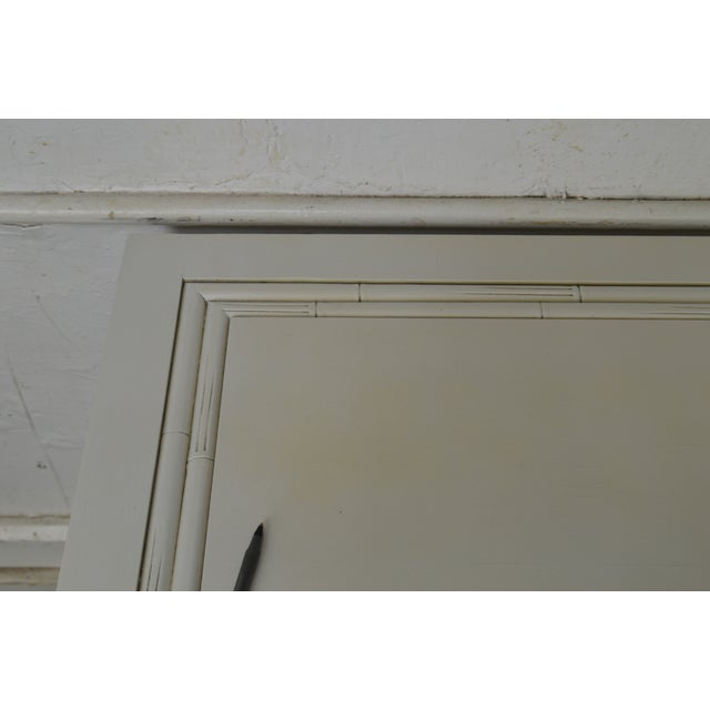 Paint Century Vintage Pair of Faux Bamboo White Painted 3 Drawer Chests Nightstands For Sale - Image 7 of 13