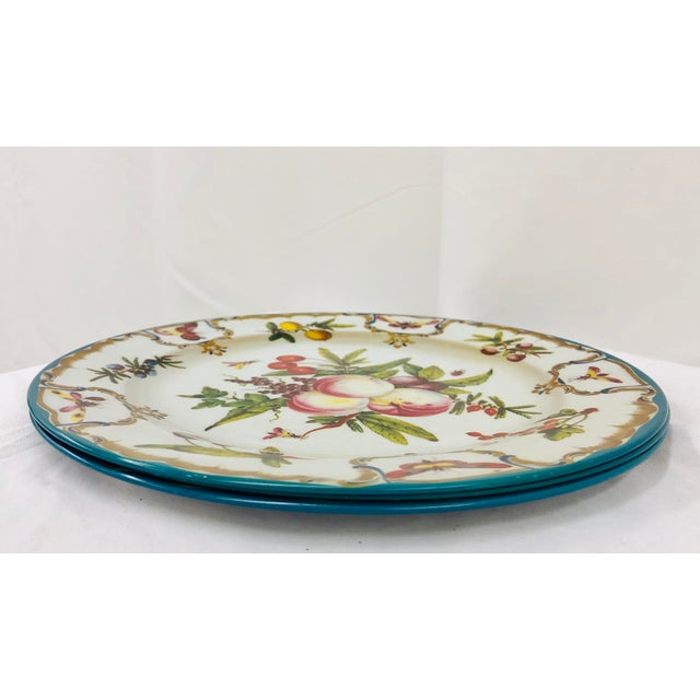Late 20th Century Vintage Floral & Fruit Motif Serving Plates - Set of 3 For Sale - Image 5 of 6