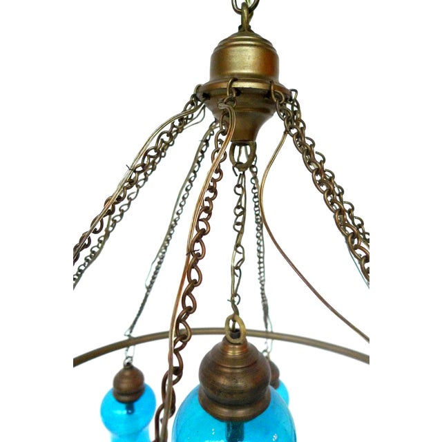 Handblown Blue Glass Chandelier - Image 5 of 5