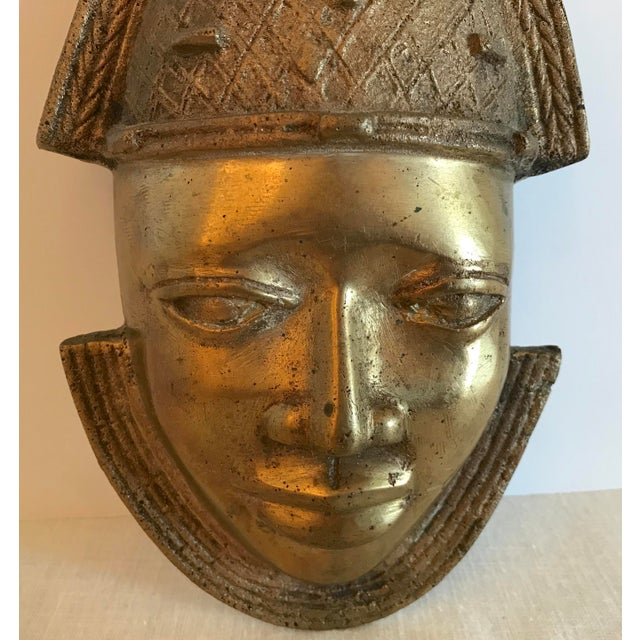 African Vintage Brass African Mask For Sale - Image 3 of 11