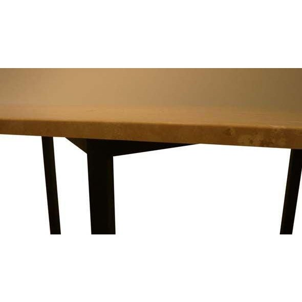 Myers Travertine Top Bronze Console For Sale - Image 4 of 5