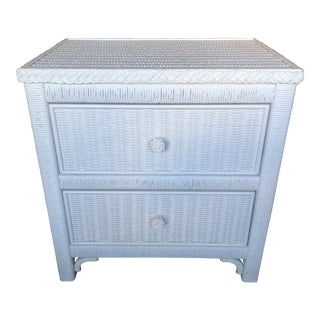 Wicker Nightstand by Henry Link For Sale