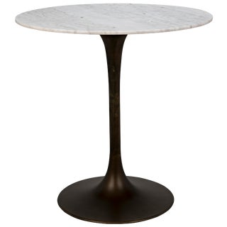 """Laredo Bar Table 40"""", Aged Brass, White Marble Top For Sale"""