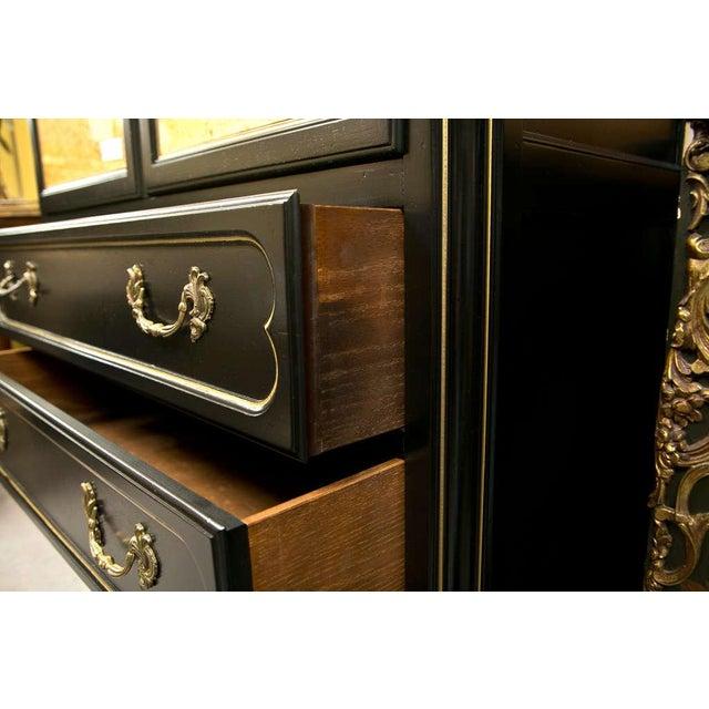 French Louis XV Style Ebonized Cabinet on Chest - Image 4 of 6