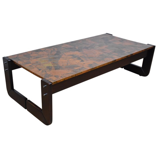 Lafer Brazilian Rosewood and Copper Coffee Table - Image 1 of 11