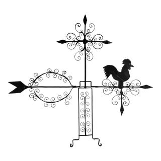 Antique Wrought Iron Rooster Weathervane For Sale