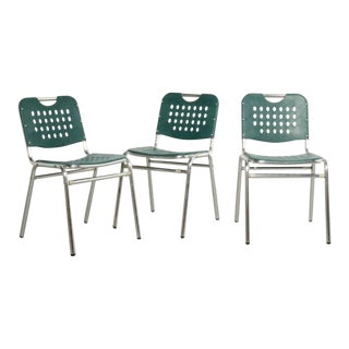 Teal Perforated Plastic and Chrome Stacking Chairs - Set of 3 For Sale