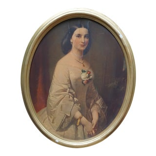 Early 20th Century Antique European Portrait of a Lady Lithograph Print For Sale