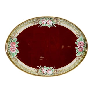 Verre Eglomise Hand Painted Ruby Red Floral Serving Tray For Sale
