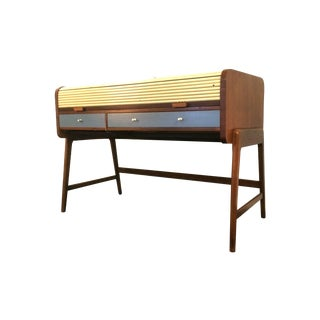 Mid-Century Sligh Lowry Walnut Roll Top Desk For Sale
