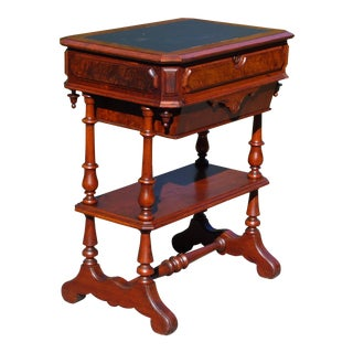 Antique Walnut Victorian Sewing Work Table Leather Top Library Entry Table For Sale