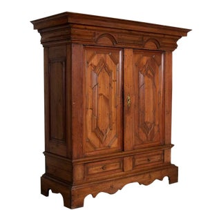 Antique Baroque Pine Armoire With Heavily Paneled Doors, Denmark For Sale