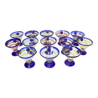 Vintage Contemporary Royal Crown Anchor Murano Blown Glass Martini Glasses For Sale