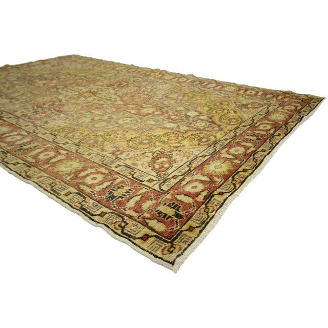Mid 20th Century 20th Century Rustic Turkish Oushak Accent Rug - 4′4″ × 6′10″ For Sale - Image 5 of 7