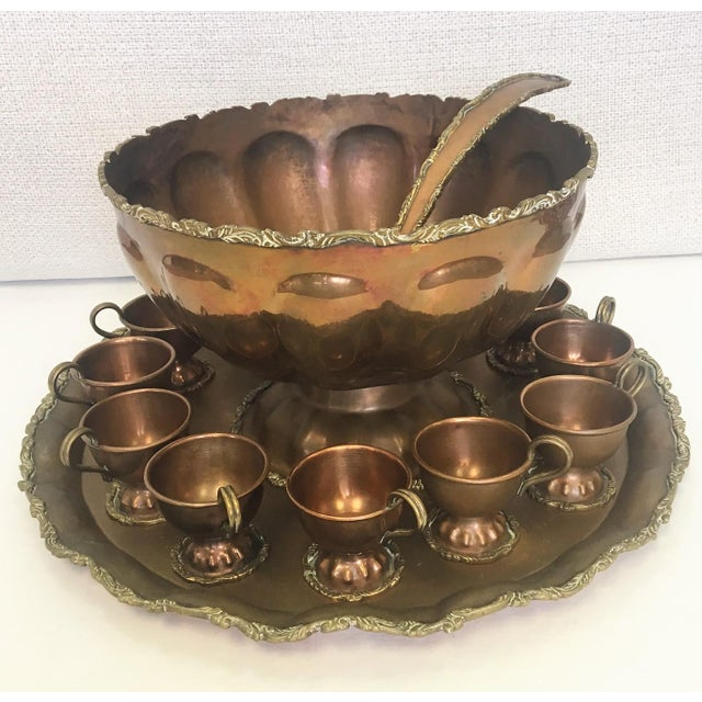 Mexican Copper & Brass Serving Bowl & Cups Set - Set of 13 - Image 2 of 4