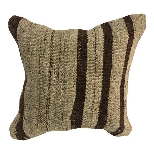 Turkish Stripe Design Anatolian Kilim Pillow For Sale