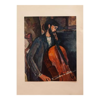 """1958 A. Modigliani, First English Edition Lithograph """"The Cellist"""" For Sale"""