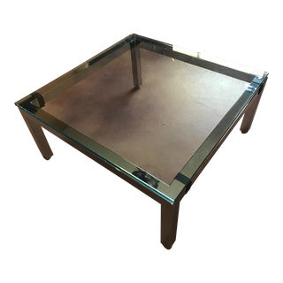 Mid-Century Modern Chrome & Glass Coffee Table Milo Baughman Style For Sale
