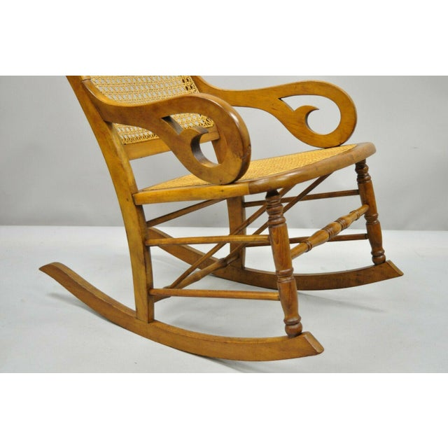 19th Century Antique Eastlake Victorian Cane & Maple Wood Primitive Rocker Rocking Chair For Sale - Image 4 of 12