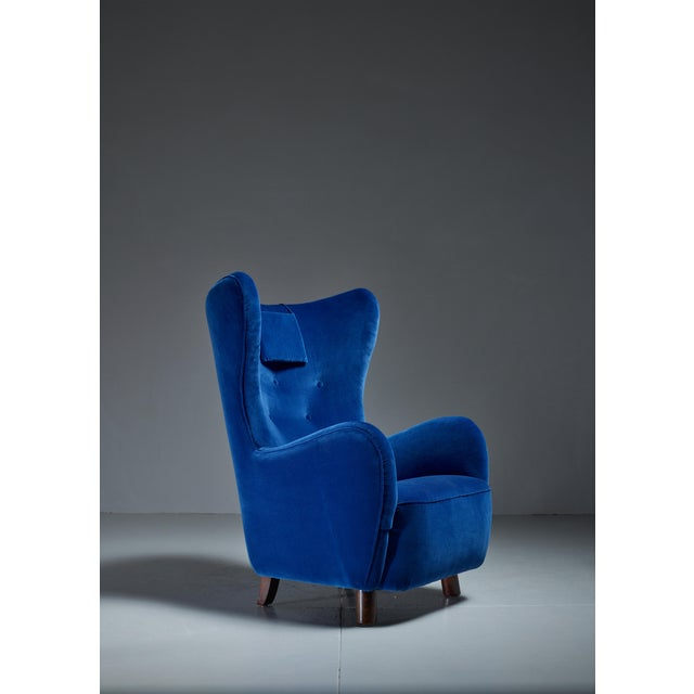 Mogens Lassen Attributed Wingback Lounge Chair, Denmark, 1940s For Sale - Image 4 of 4