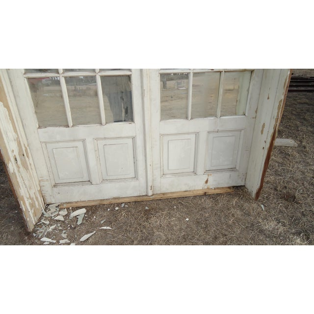 Mirrored Antique French Doors With Arched Transom For Sale - Image 6 of 8