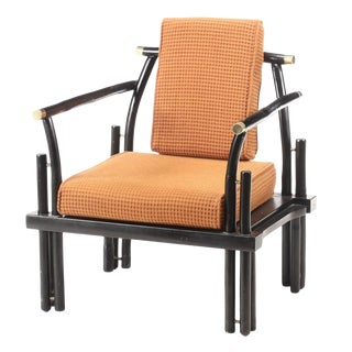Vintage Mid Century Ficks Reed Ebonized Wood Brass-Mounted Lounge Chair For Sale