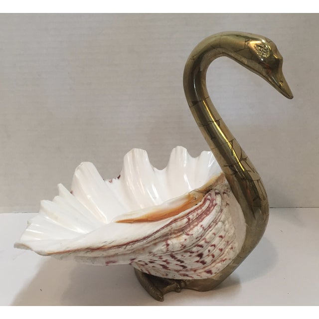 Vintage 1970 Brass Swan And Sea Shell - Image 2 of 9