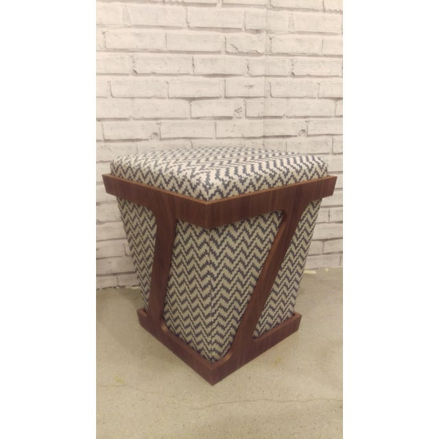 Walnut & Gray Chevron Z-Frame Stool - Image 2 of 2