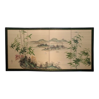 Mid Century Chinese Hand Painted Silk Byobu Folding Screen For Sale