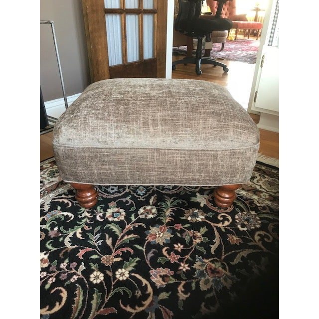 Stickley Furniture Upholstered Maple Chair & Ottoman For Sale - Image 9 of 12