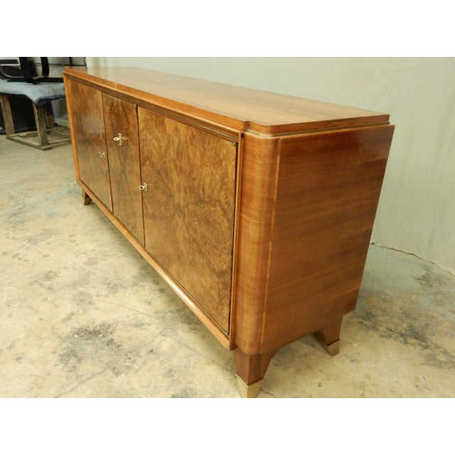 Contemporary 1940's Large French Walnut Enfilade by Maurice Rinck For Sale - Image 3 of 12