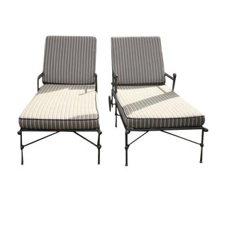 Chaise Lounge Chairs With Custom Sunbrella Cushions - a Pair For Sale