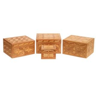 Carved Wooden Trinket Boxes, Set of 4 For Sale