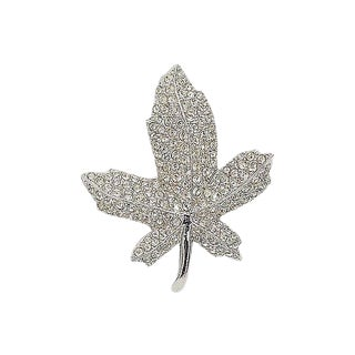 1960s Boucher Pavé Rhinestone Maple Leaf Pin For Sale