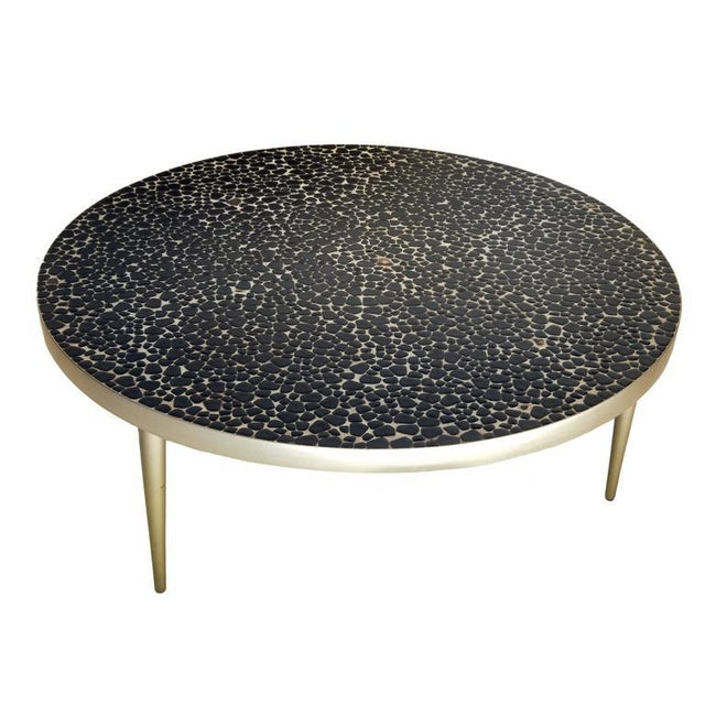 Round mosaic tile Mid-Century coffee table with brushed aluminum legs.