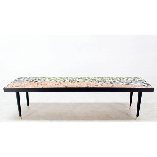 Stone Mid-Century Modern Art Mosaic-Top Long Rectangular Table For Sale - Image 7 of 8