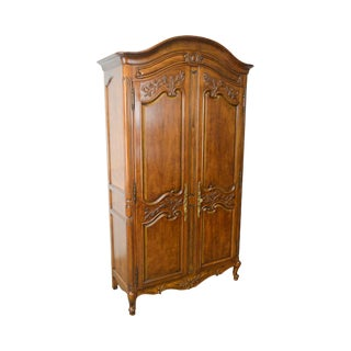 French Louis XV Style Carved Fruitwood Armoire by White