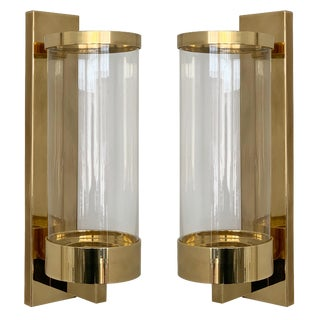 Pair of Chapman Brass and Glass Candle Wall Sconces For Sale