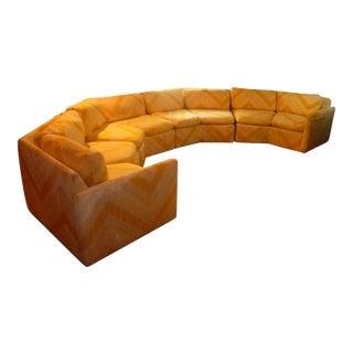 Vintage MCM Milo Baughman Bernhardt Flair Mid-Century Curved Hexagon Sectional Sofa Unique 1970's For Sale