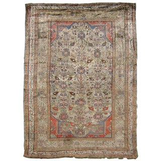 Silk Heriz Rug - 4′4″ × 5′8″ For Sale